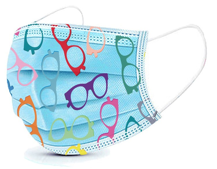 Basic Disposable 3 Ply Masks  - Eyeglass Pattern  (Box of 50)