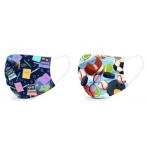 Children's Basic Disposable 3 Ply Masks with Back to School & Sports Pattern (Pack of 50)