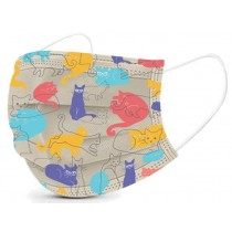 Basic Disposable 3 Ply Masks with Cat Pattern (Pack of 50)