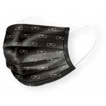 Basic Disposable 3 Ply Masks - Black with Eyeglass Pattern (Pack of 50)