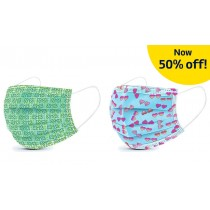 Basic Disposable 3 Ply Masks - Heart and Shamrock Print (Pack of 50)