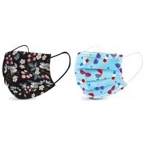 Basic Disposable 3 Ply Masks with Floral & Sun and Fun Patterns (Pack of 50)